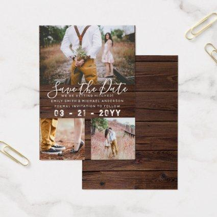 100 x RUSTIC Save The Dates - PHOTO COLLAGE