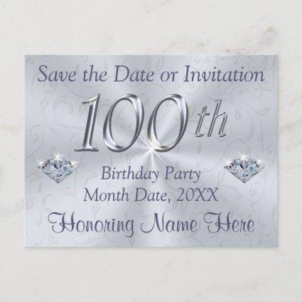 100th birthday save the date save the date cards save the date cards 100th birthday party invitations or save the date filmwisefo