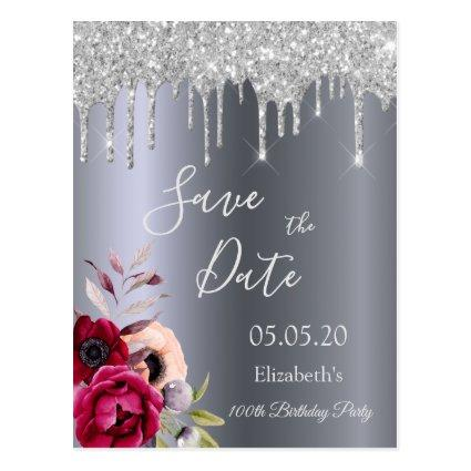 100th birthday silver glitter drips