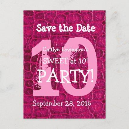 10th Birthday Sweet at Ten Pink Alligator Print Announcement