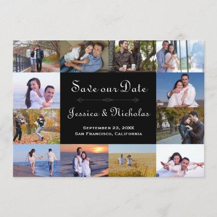12 Photos Collage Black - 5x7 Save the Date