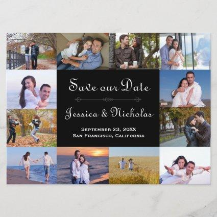 12 Photos Collage Black - 6x8 Save the Date