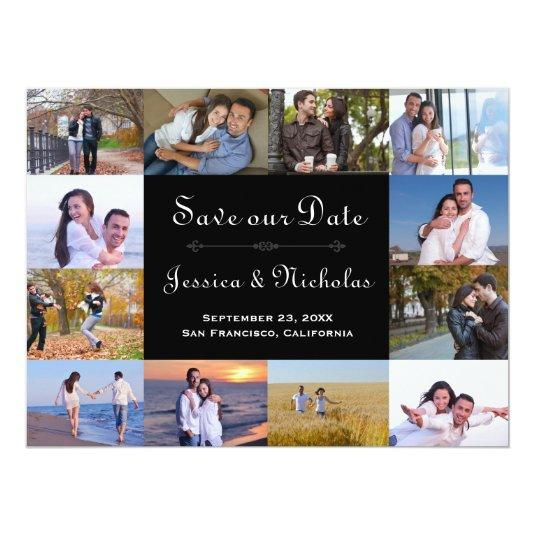 12 Photos Collage Black - 6x8 Save the Date Card