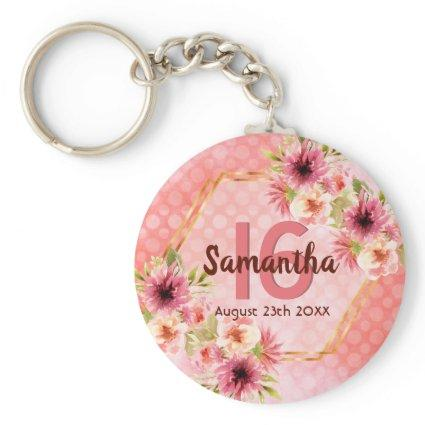 16th birthday pink florals,gold geometric name keychain