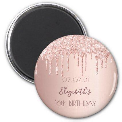 16th birthday rose gold glitter drips glam magnet