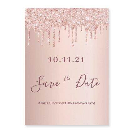 18th birthday rose gold glitter save the date