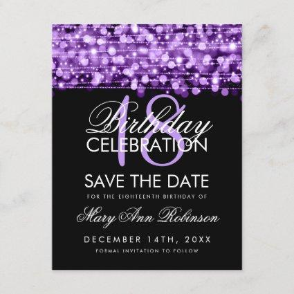 18th Birthday Save The Date Party Sparkles Purple
