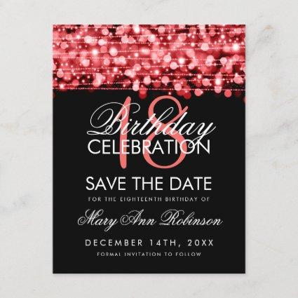 18th Birthday Save The Date Party Sparkles Red