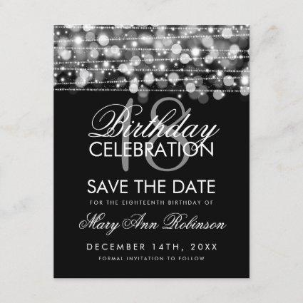 18th Birthday Save The Date Party Sparkles Silver