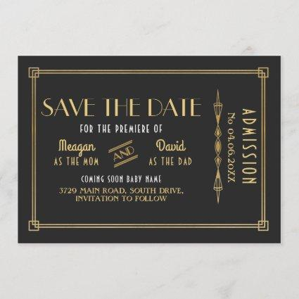1920's Art Deco Baby Shower Gatsby Save The Date