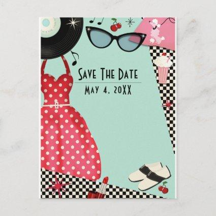 1950's Fifties Dress Up Retro Vintage Save Date Announcement