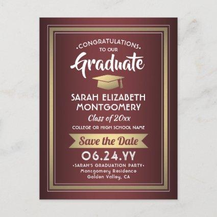 1 Photo Burgundy and Gold Graduation Save the Date Announcement