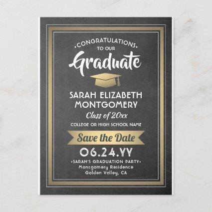 1 Photo Chalkboard & Gold Graduation Save the Date Announcement