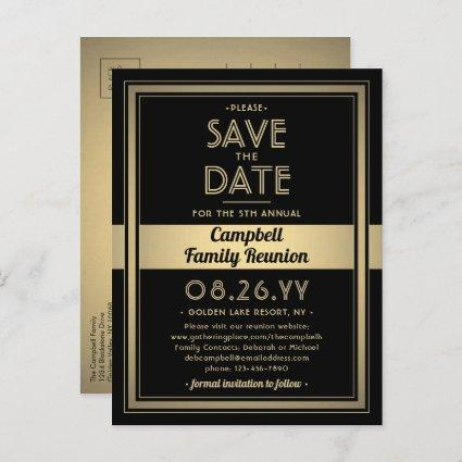 1 Photo Family Reunion Save the Date Black & Gold Announcement