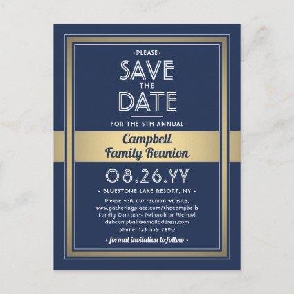 1 Photo Family Reunion Save the Date Blue and Gold Announcement