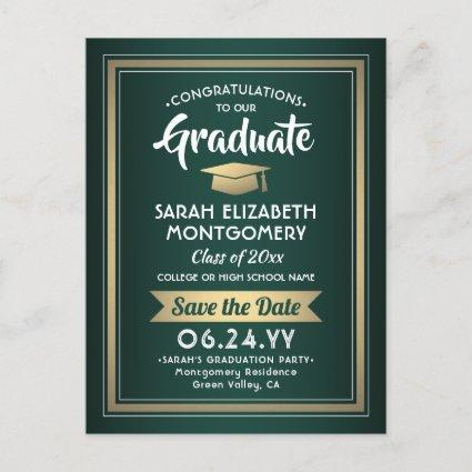 1 Photo Green Gold White Graduation Save the Date Announcement