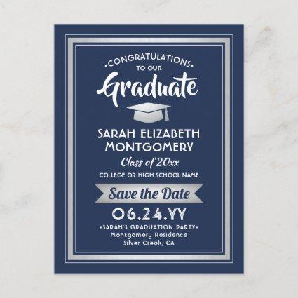 1 Photo Navy White Silver Graduation Save the Date Announcement