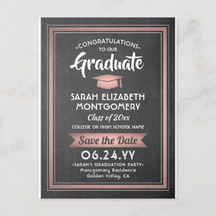 1 Photo Pink Rose Gold Graduation Save the Date Announcement