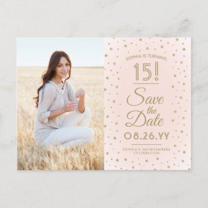 1 Photo Quinceanera Save the Date Pink and Gold Invitation