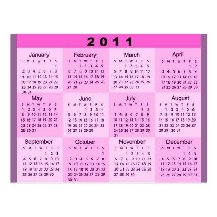 2011 Year at a Glance Calendar Cards