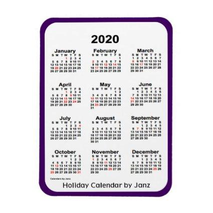 2020 Holiday Calendar by Janz Purple Magnet