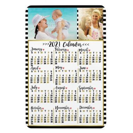 2021 Year Monthly Calendar Stripes | Custom Photos Magnet