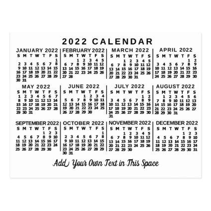 2022 Year Monthly Calendar Classic White and Black