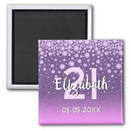 21st birthday party diamonds glitter purple pink magnet