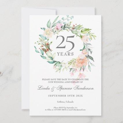 25th Anniversary Save the Date Roses Garland
