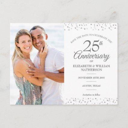 25th Anniversary Silver Hearts Save the Date Photo Announcement