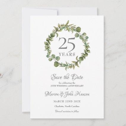 25th Wedding Silver Anniversary Greenery Garland  Save The Date