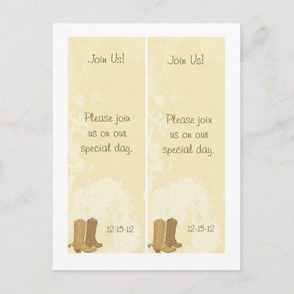 2 Cowboy Wedding Save Date Bookmark Announcement
