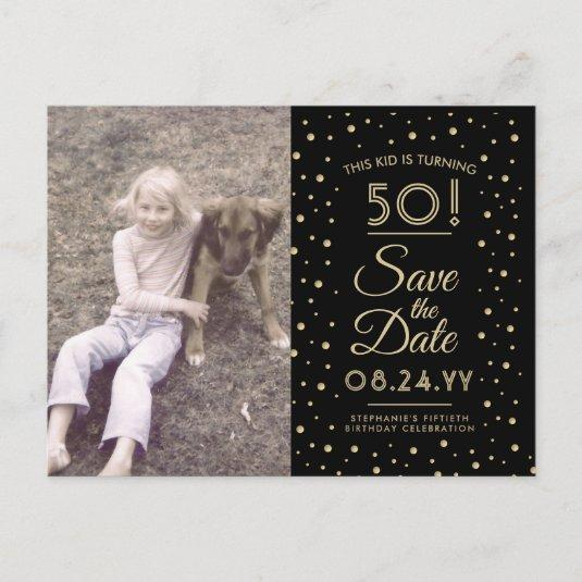 2 Photo Any Age Birthday Gold Black Save the Date Invitation