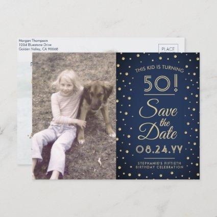 2 Photo Any Age Birthday Navy Gold Save the Date Invitation