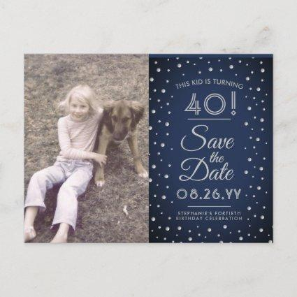 2 Photo Any Age Birthday Navy Silver Save the Date Invitation