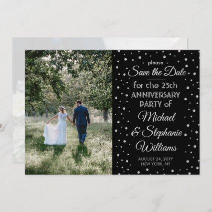 2 Photo ANY Anniversary Confetti Black and White Save The Date
