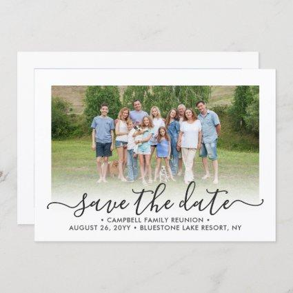 2 Photo Family Reunion Party Modern Elegant Script Save The Date