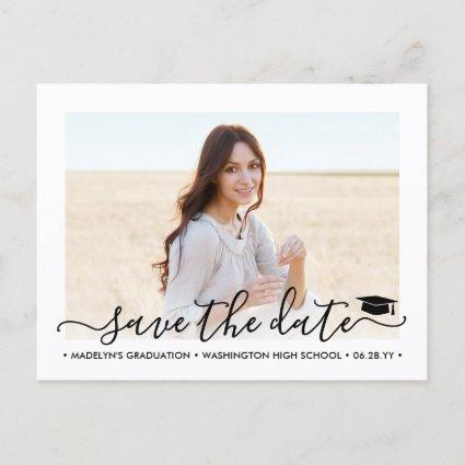 2 Photo Graduation Modern Script Save the Date Announcement