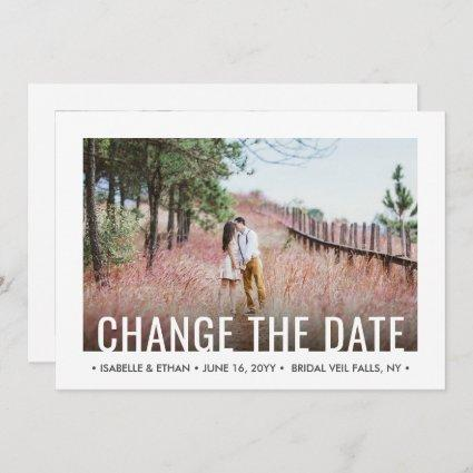 2 Photo Modern Minimalist Wedding Postponement Save The Date