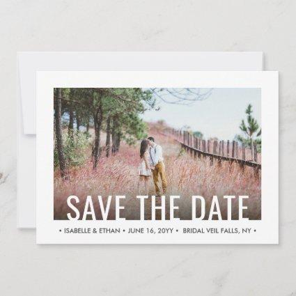 2 Photo Modern Minimalist Wedding Simple Save The Date
