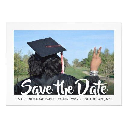 2 Photo Modern Script Graduation Save the Date Invitation