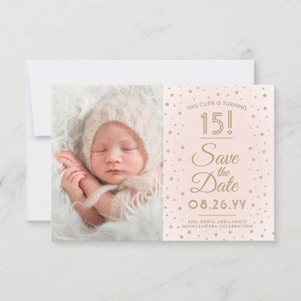 2 Photo Quinceanera Chic Blush Pink Gold Glitter Save The Date