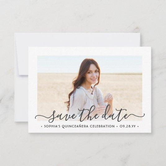 2 Photo Quinceanera Elegant Script 15th Birthday Save The Date