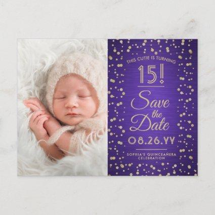 2 Photo Quinceanera Purple and Gold Save the Date Invitation