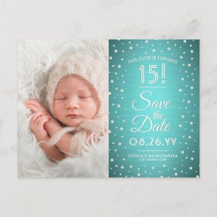 2 Photo Quinceanera Teal Blue Silver Save the Date Invitation