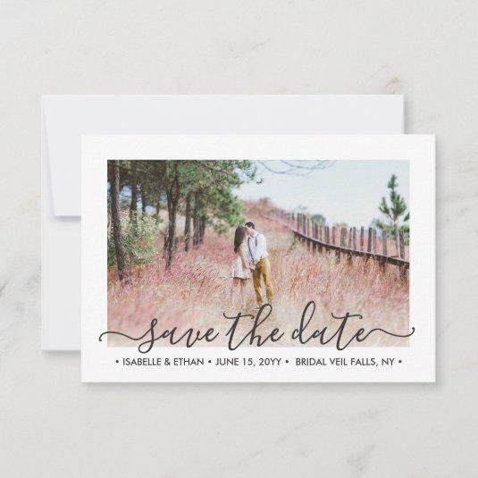 2 Photo Simple Elegant Handwritten Script Wedding Save The Date