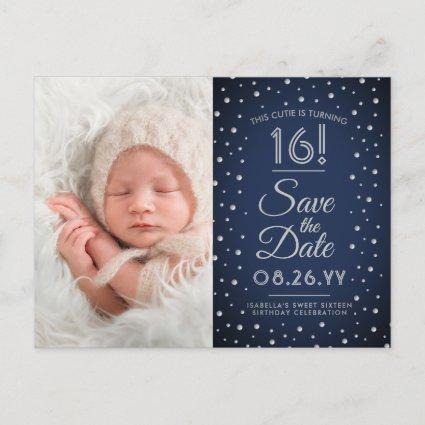 2 Photo Sweet 16 Birthday Navy Blue Save the Date Invitation