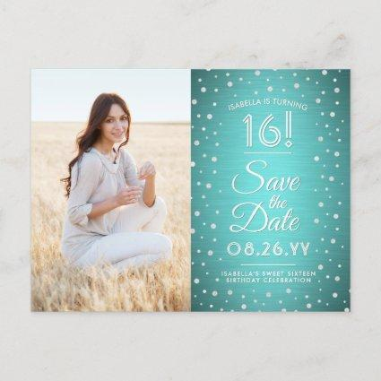 2 Photo Sweet 16 Birthday Save the Date Teal Blue Invitation