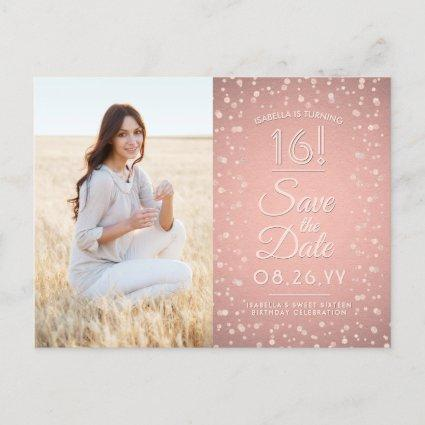 2 Photo Sweet 16 Save the Date Rose Gold Glitter Invitation