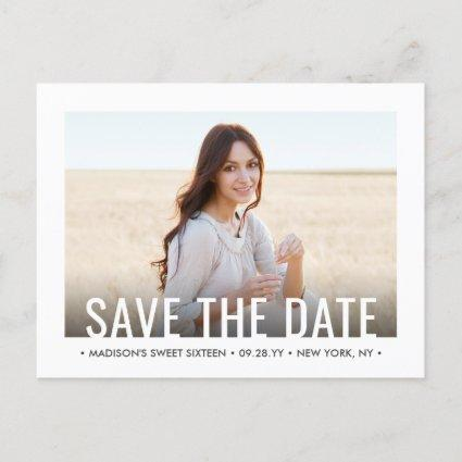 2 Photo Sweet 16th Birthday Modern Save the Date Announcement